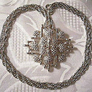 Monet Lattice Layered Necklace Silver Tone